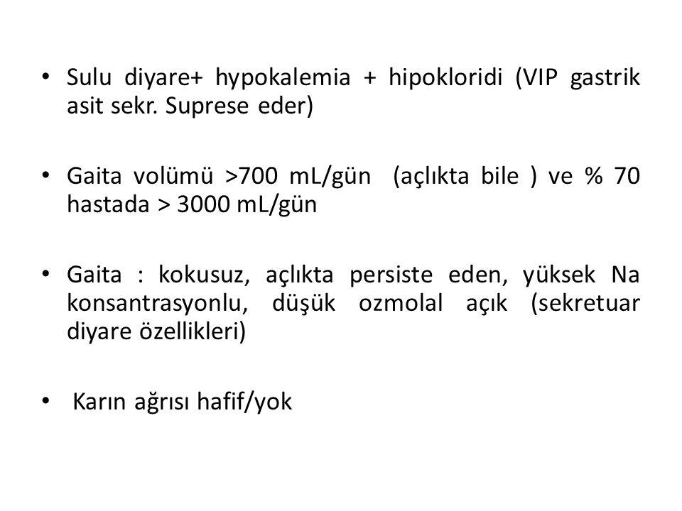 Sulu diyare+ hypokalemia + hipokloridi (VIP gastrik asit sekr