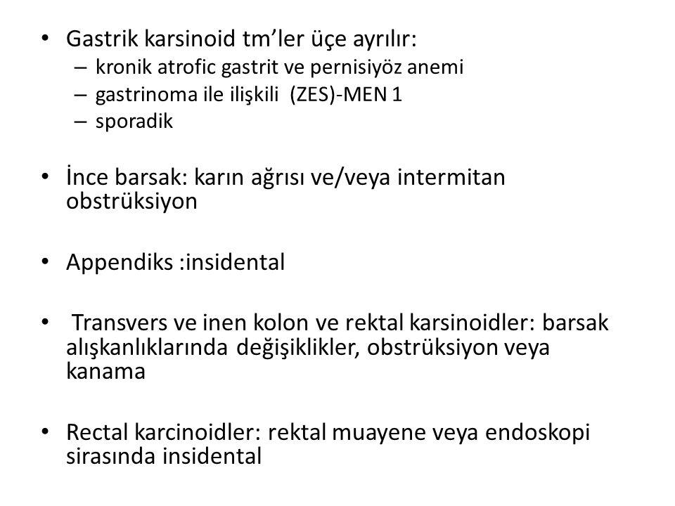Gastrik karsinoid tm'ler üçe ayrılır: