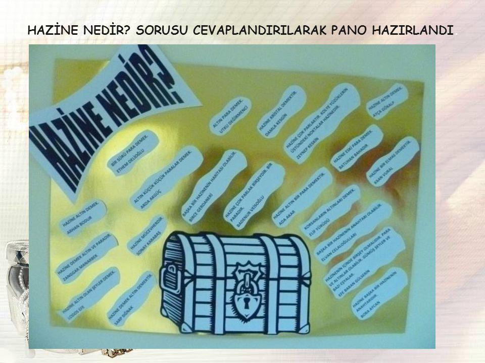 HAZİNE NEDİR SORUSU CEVAPLANDIRILARAK PANO HAZIRLANDI.