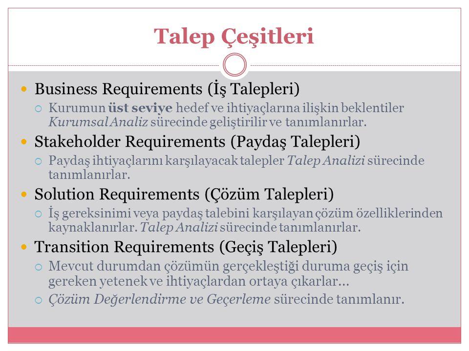 Talep Çeşitleri Business Requirements (İş Talepleri)