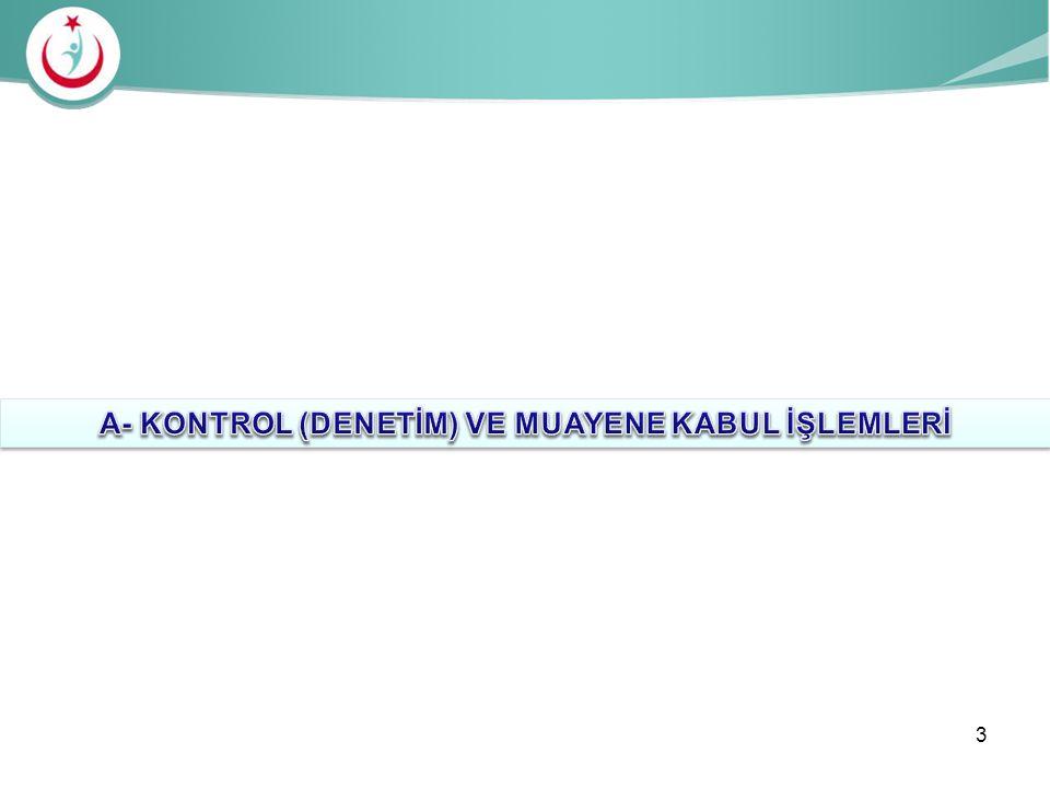 A- KONTROL (DENETİM) VE MUAYENE KABUL İŞLEMLERİ