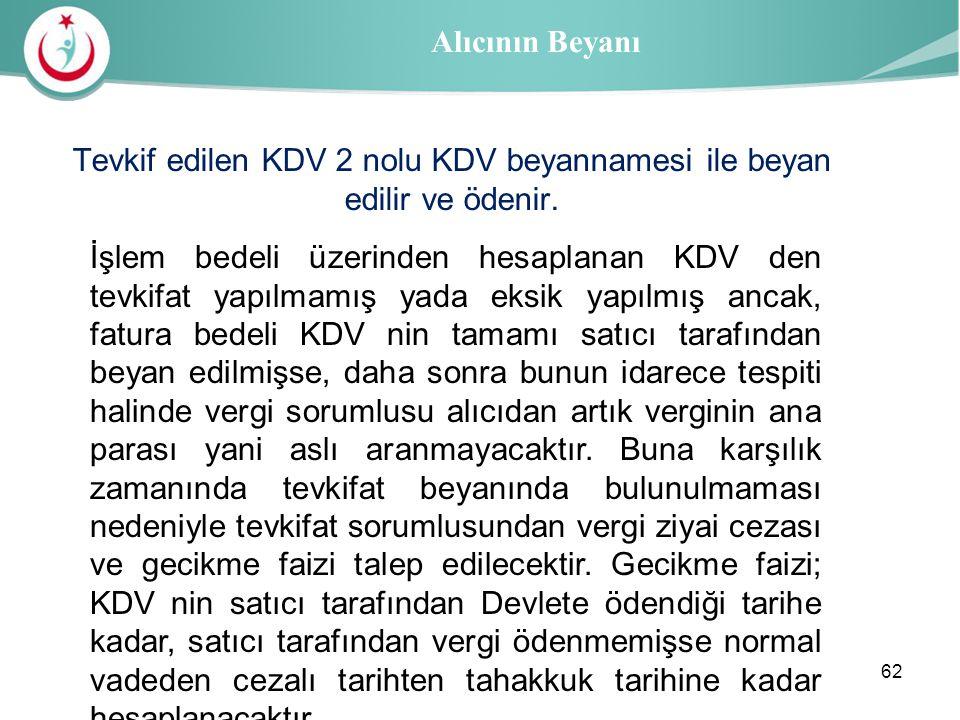 Tevkif edilen KDV 2 nolu KDV beyannamesi ile beyan edilir ve ödenir.