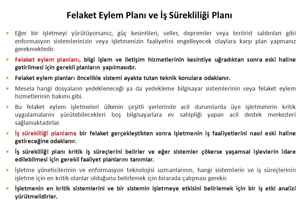 Felaket Eylem Planı ve İş Sürekliliği Planı