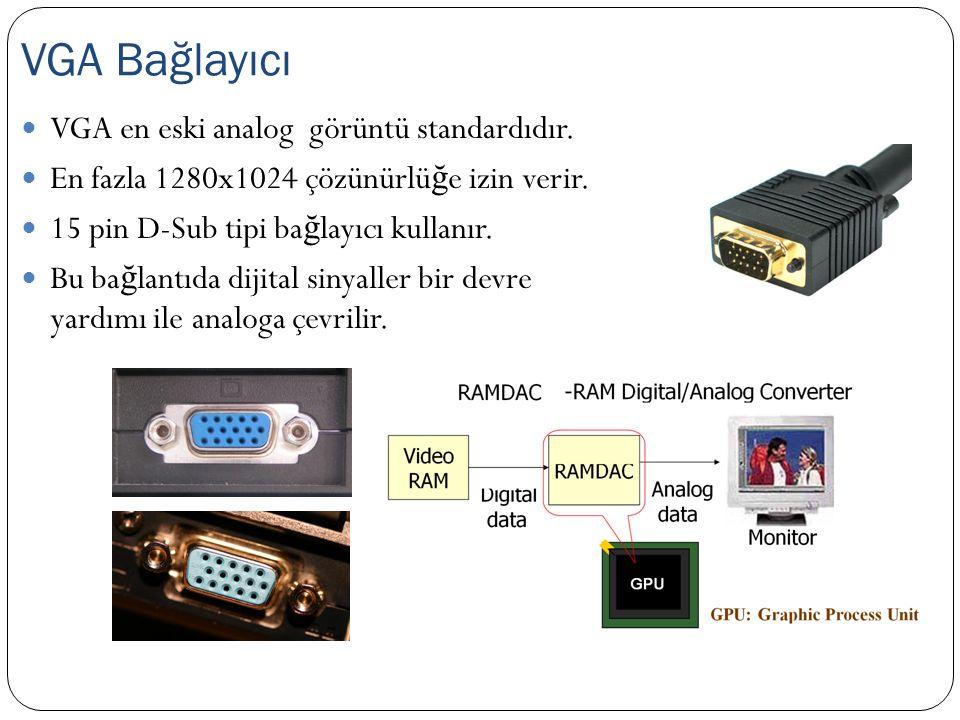 VGA Bağlayıcı VGA en eski analog görüntü standardıdır.