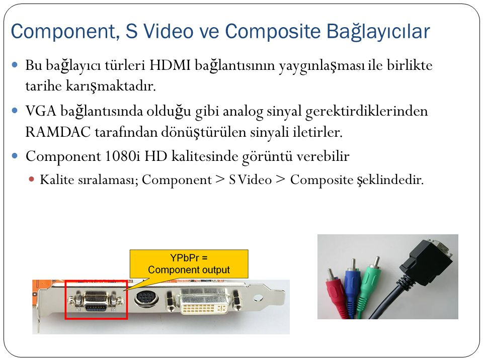 Component, S Video ve Composite Bağlayıcılar