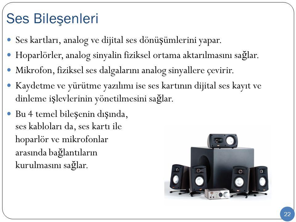 Ses Bileşenleri Ses kartları, analog ve dijital ses dönüşümlerini yapar. Hoparlörler, analog sinyalin fiziksel ortama aktarılmasını sağlar.