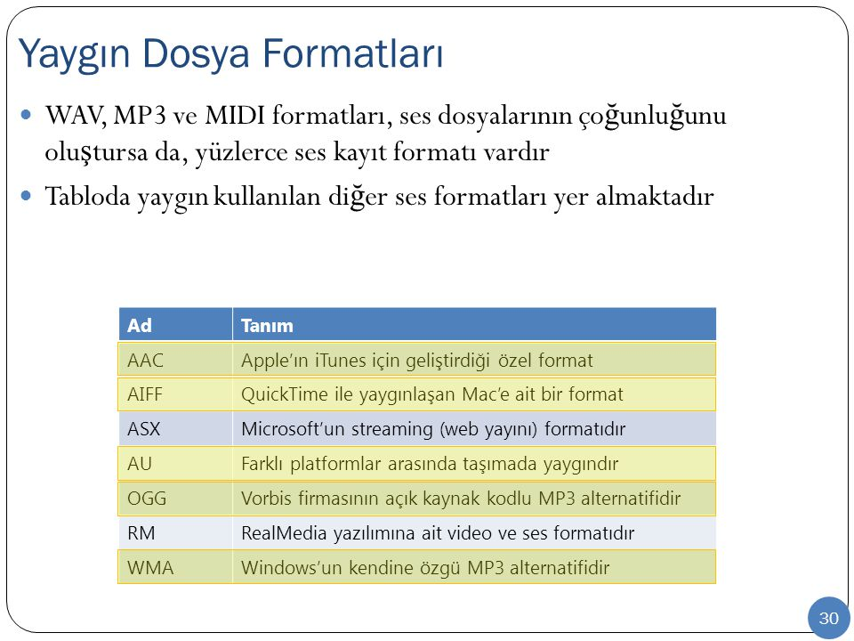 Yaygın Dosya Formatları