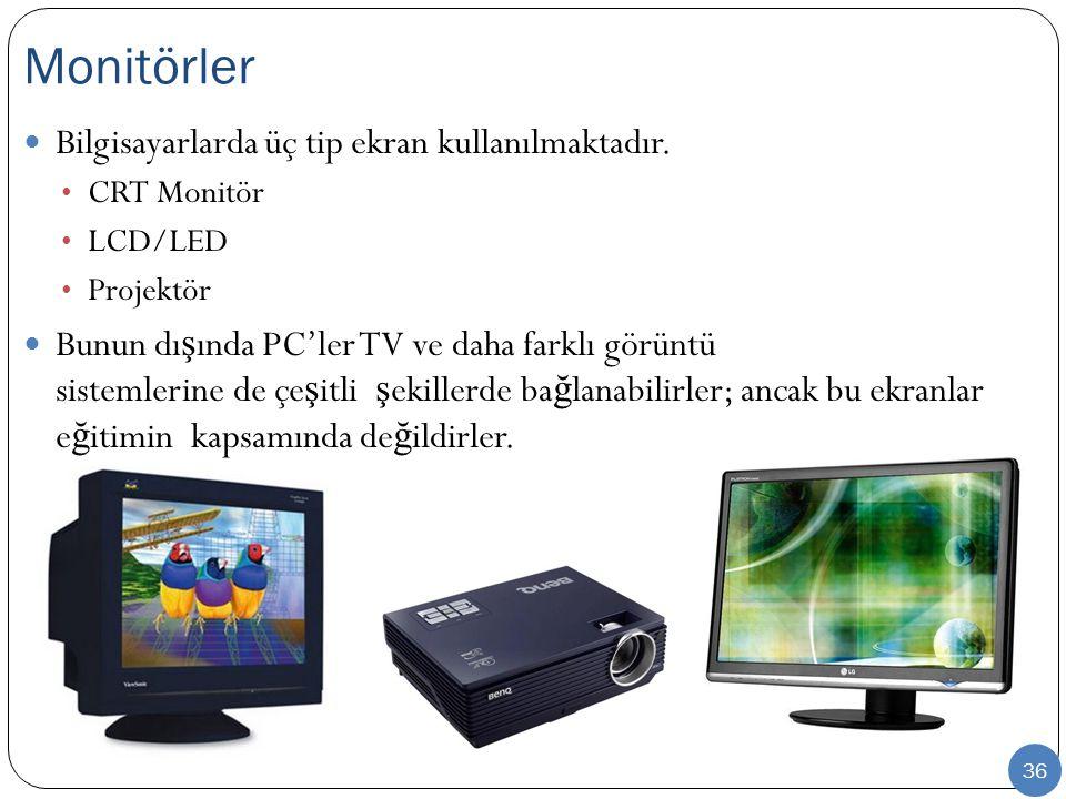 Monitörler Bilgisayarlarda üç tip ekran kullanılmaktadır.