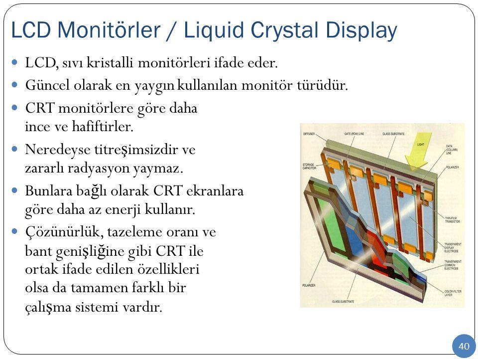 LCD Monitörler / Liquid Crystal Display