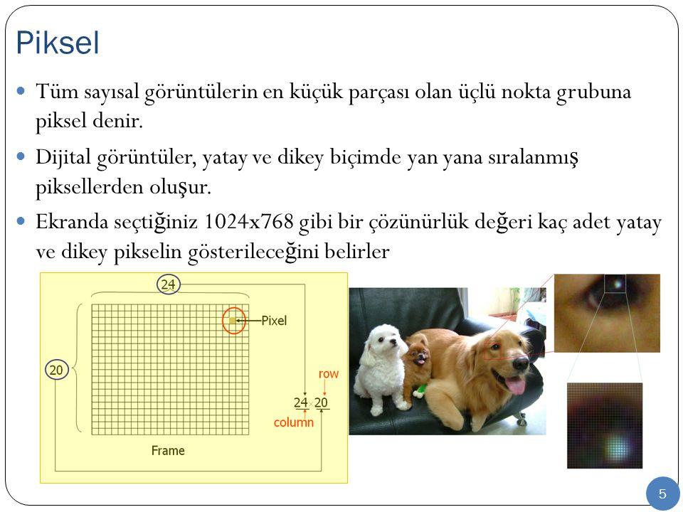 Piksel Tüm sayısal görüntülerin en küçük parçası olan üçlü nokta grubuna piksel denir.