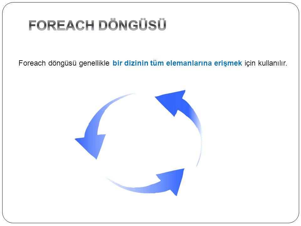 FOREACH DÖNGÜSÜ Foreach döngüsü genellikle bir dizinin tüm elemanlarına erişmek için kullanılır.