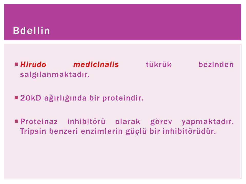 Bdellin Hirudo medicinalis tükrük bezinden salgılanmaktadır.