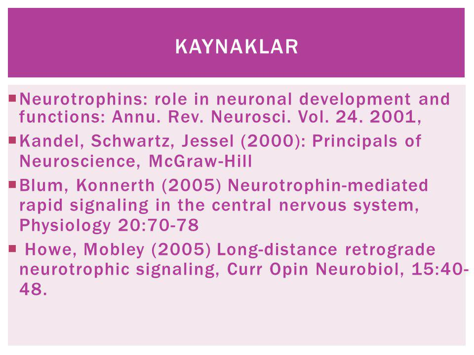 KAYNAKLAR Neurotrophins: role in neuronal development and functions: Annu. Rev. Neurosci. Vol. 24. 2001,