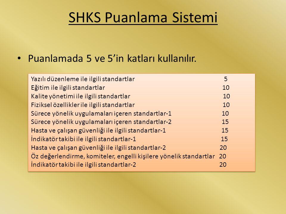 SHKS Puanlama Sistemi Puanlamada 5 ve 5'in katları kullanılır.