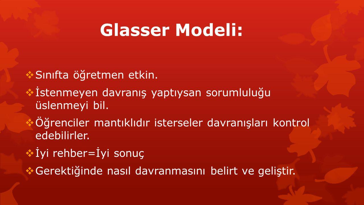 Glasser Modeli: Sınıfta öğretmen etkin.