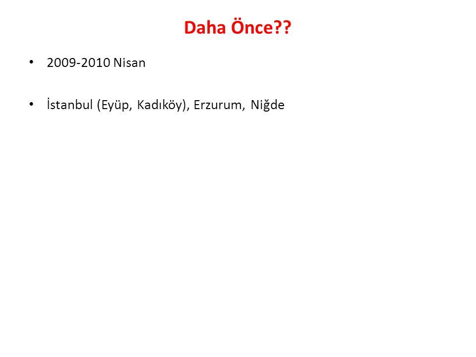 Daha Önce 2009-2010 Nisan İstanbul (Eyüp, Kadıköy), Erzurum, Niğde
