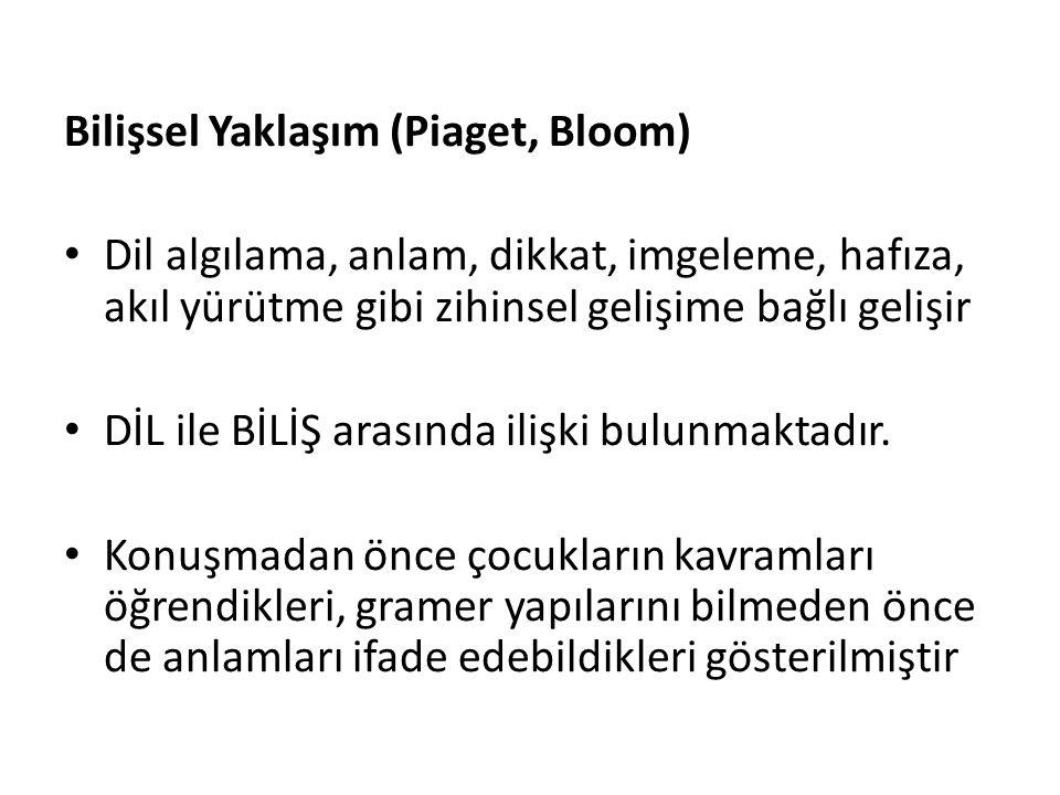 Bilişsel Yaklaşım (Piaget, Bloom)