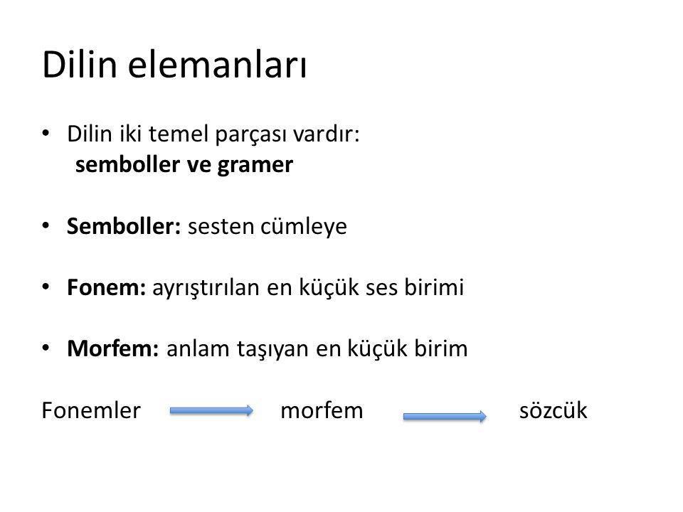 Dilin elemanları Dilin iki temel parçası vardır: semboller ve gramer