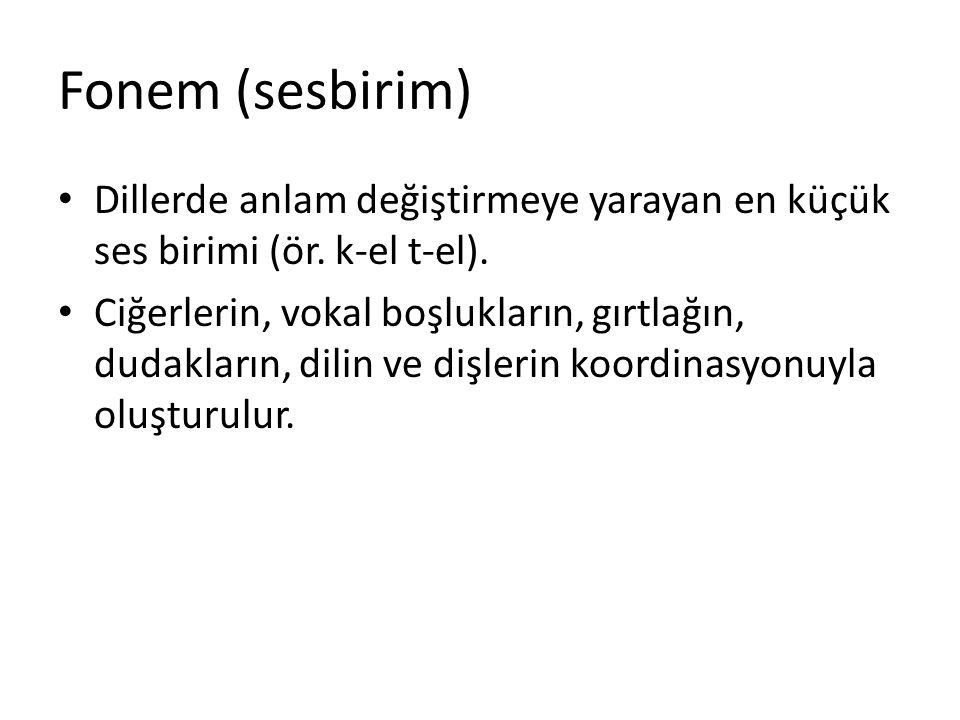 Fonem (sesbirim) Dillerde anlam değiştirmeye yarayan en küçük ses birimi (ör. k-el t-el).