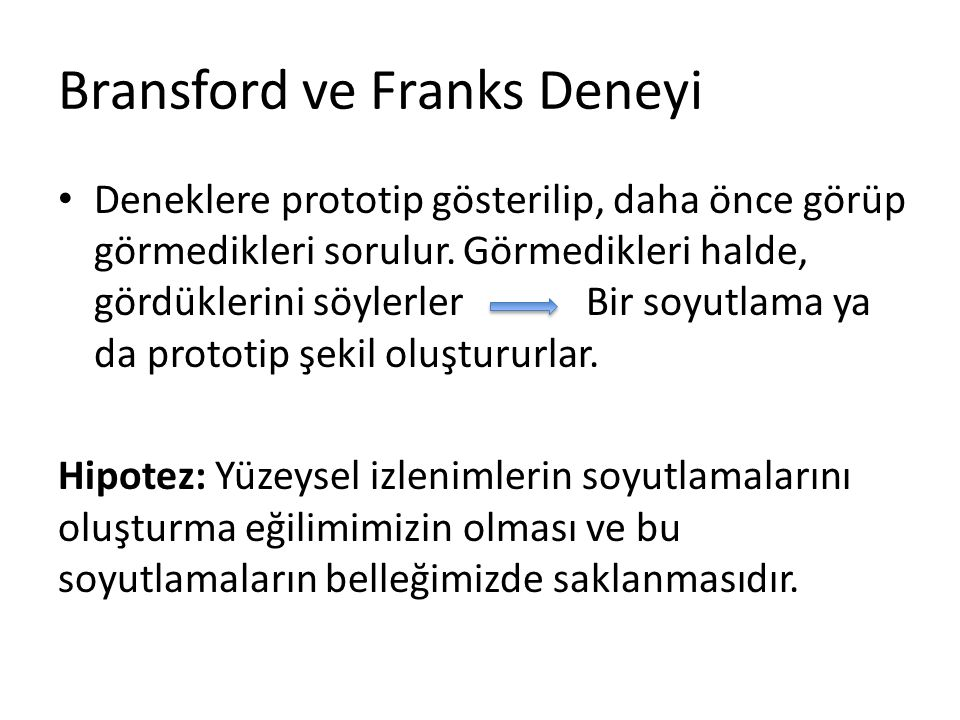 Bransford ve Franks Deneyi