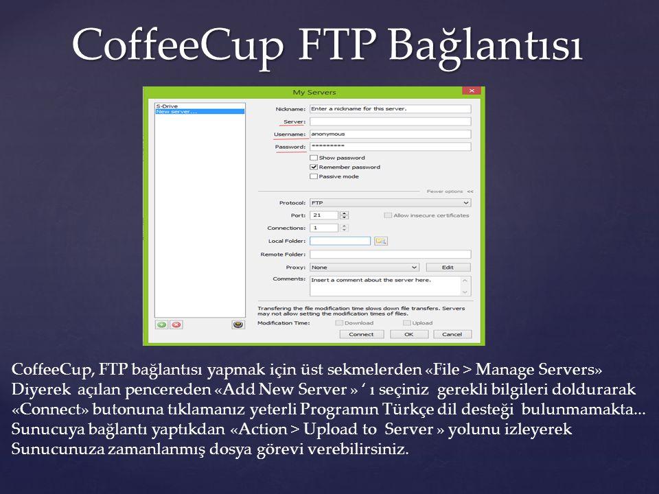 CoffeeCup FTP Bağlantısı