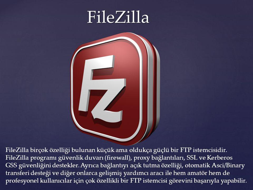 FileZilla FileZilla birçok özelliği bulunan küçük ama oldukça güçlü bir FTP istemcisidir.