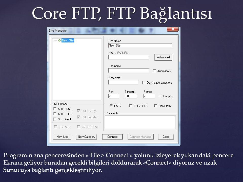Core FTP, FTP Bağlantısı