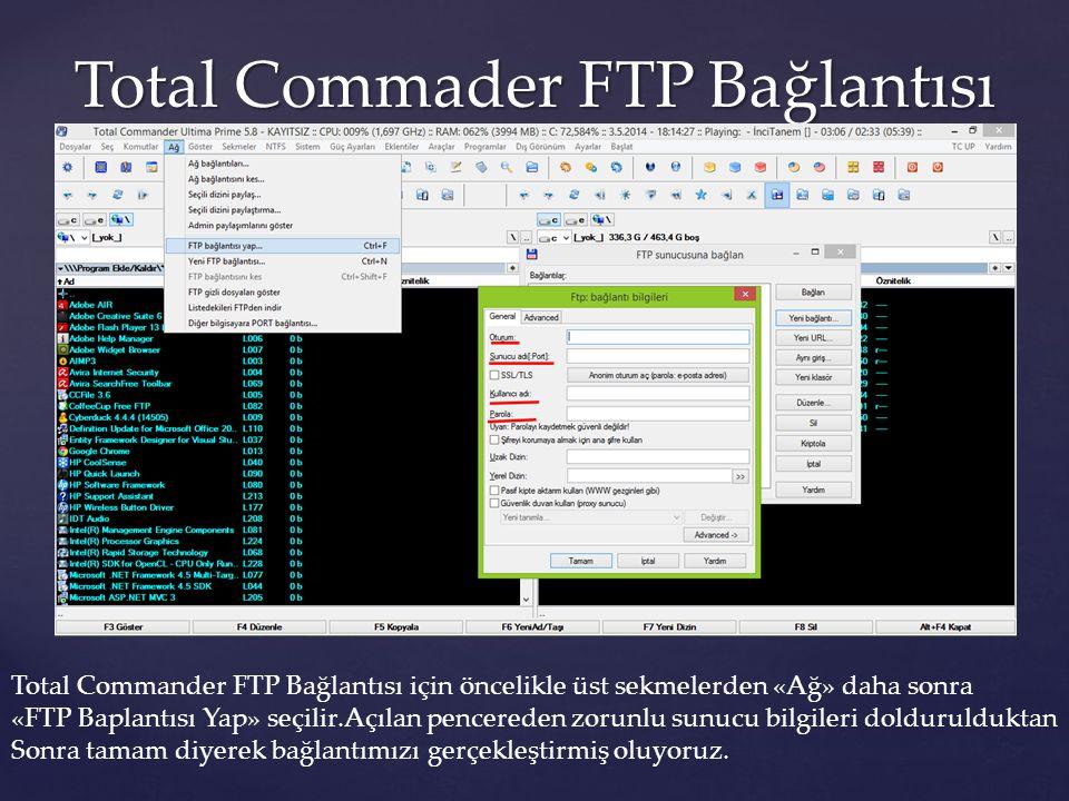 Total Commader FTP Bağlantısı