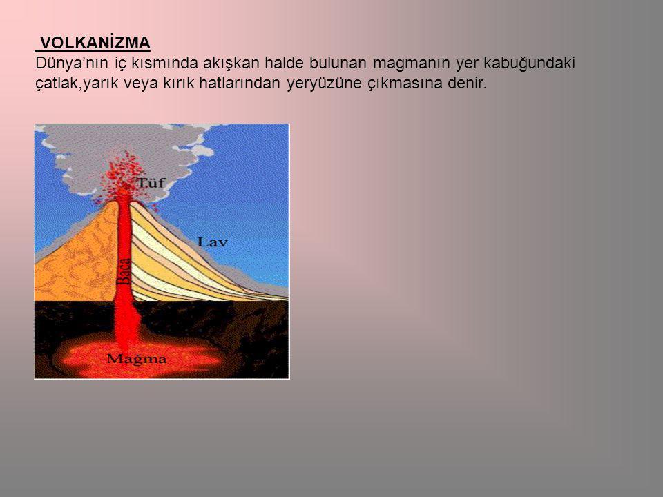 VOLKANİZMA Dünya'nın iç kısmında akışkan halde bulunan magmanın yer kabuğundaki çatlak,yarık veya kırık hatlarından yeryüzüne çıkmasına denir.