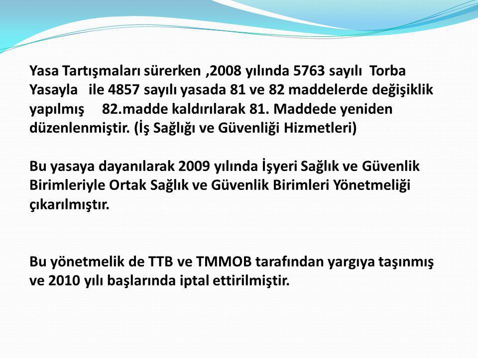Yasa Tartışmaları sürerken ,2008 yılında 5763 sayılı Torba Yasayla ile 4857 sayılı yasada 81 ve 82 maddelerde değişiklik yapılmış 82.madde kaldırılarak 81. Maddede yeniden düzenlenmiştir. (İş Sağlığı ve Güvenliği Hizmetleri)