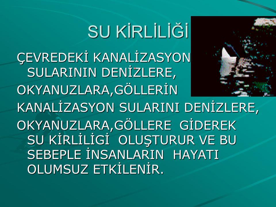 SU KİRLİLİĞİ ÇEVREDEKİ KANALİZASYON SULARININ DENİZLERE,