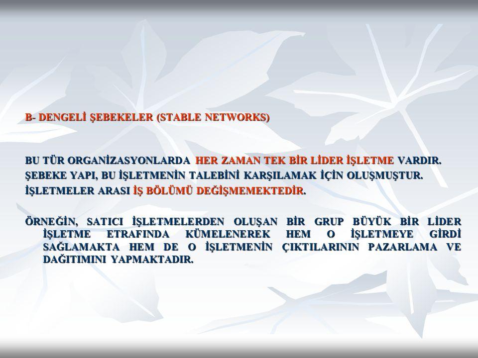B- DENGELİ ŞEBEKELER (STABLE NETWORKS)