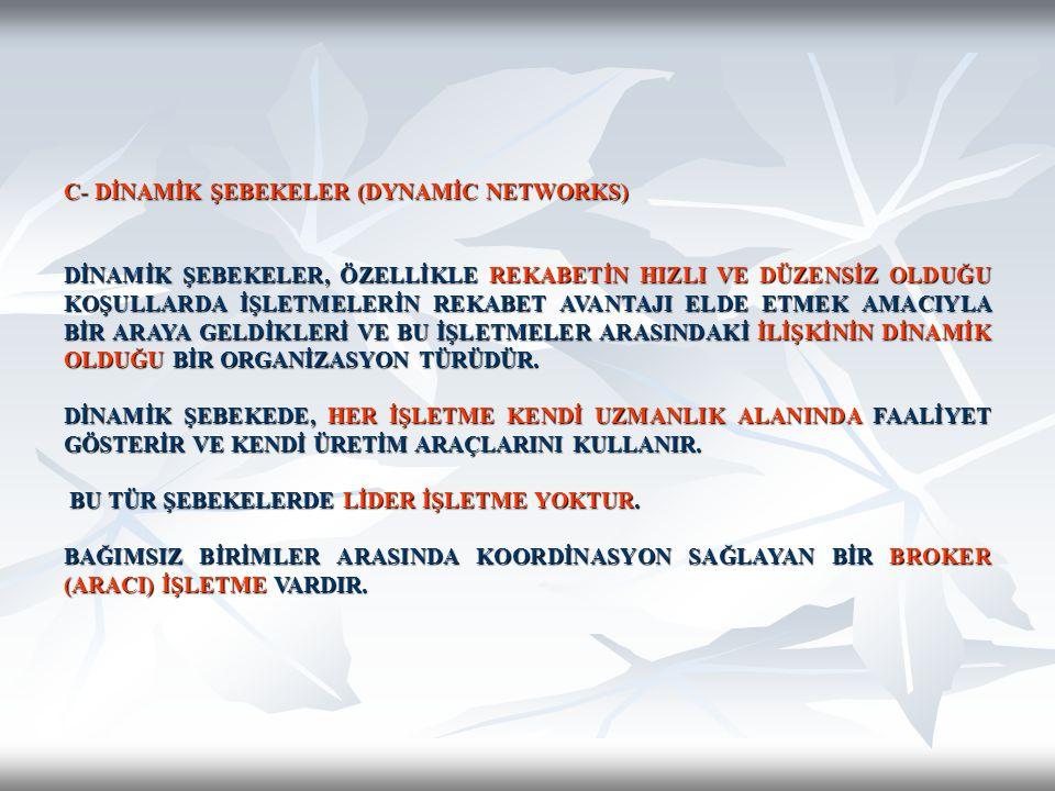 C- DİNAMİK ŞEBEKELER (DYNAMİC NETWORKS)