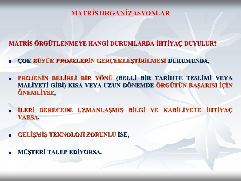 MATRİS ORGANİZASYONLAR