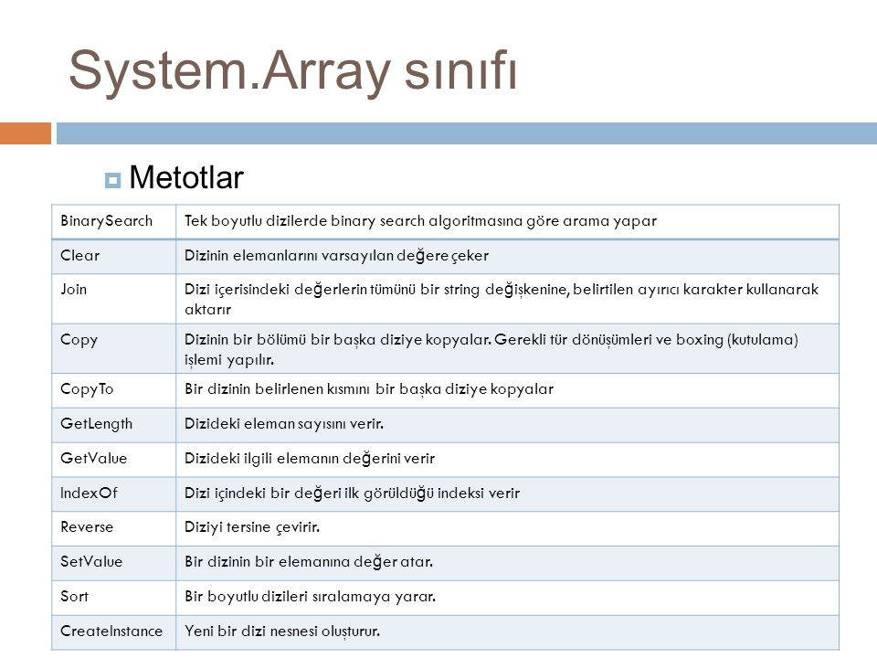 System.Array sınıfı Metotlar BinarySearch