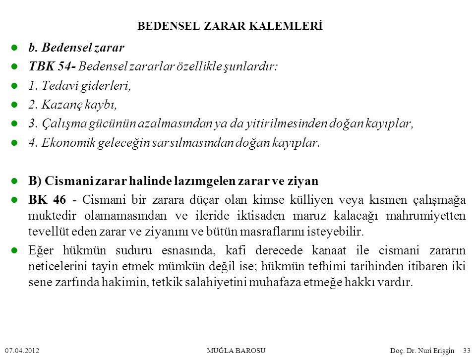 BEDENSEL ZARAR KALEMLERİ