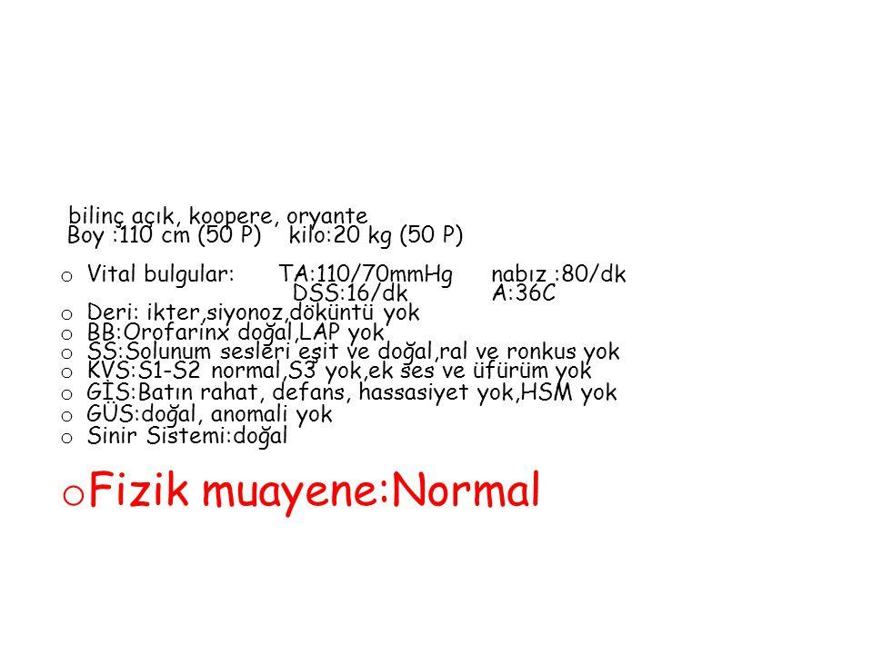 Fizik muayene:Normal Boy :110 cm (50 P) kilo:20 kg (50 P)