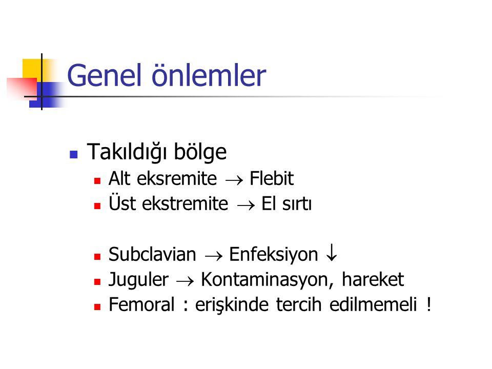 Genel önlemler Takıldığı bölge Alt eksremite  Flebit