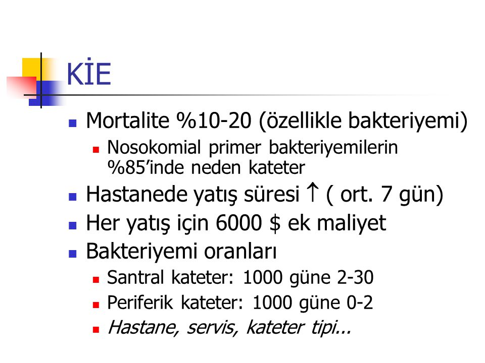 KİE Mortalite %10-20 (özellikle bakteriyemi)