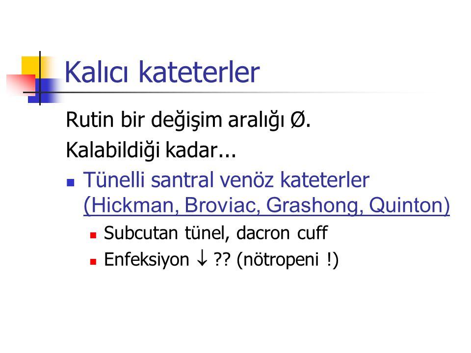 Kalıcı kateterler Rutin bir değişim aralığı Ø. Kalabildiği kadar...