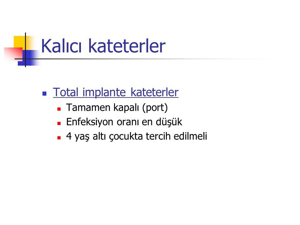 Kalıcı kateterler Total implante kateterler Tamamen kapalı (port)