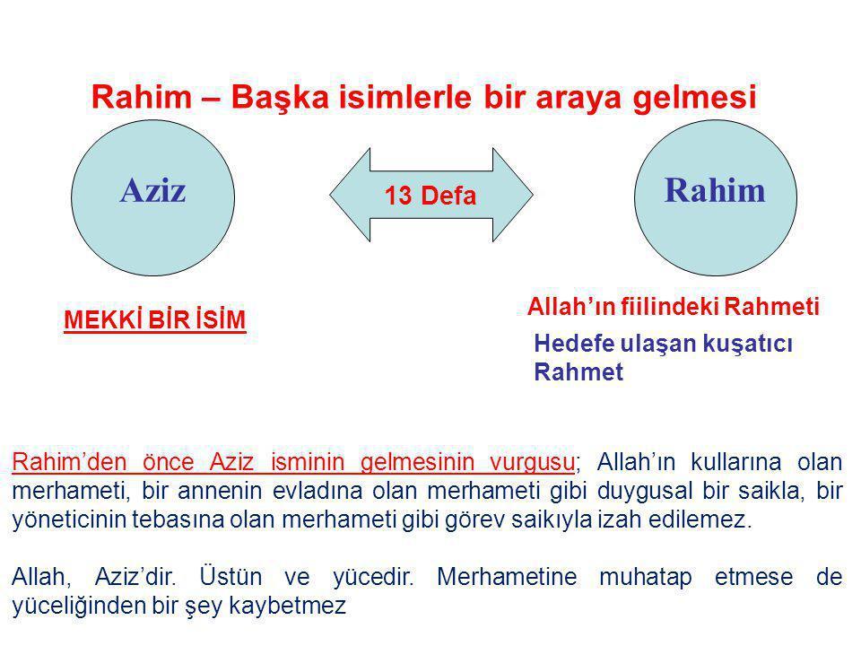Rahim – Başka isimlerle bir araya gelmesi Allah'ın fiilindeki Rahmeti