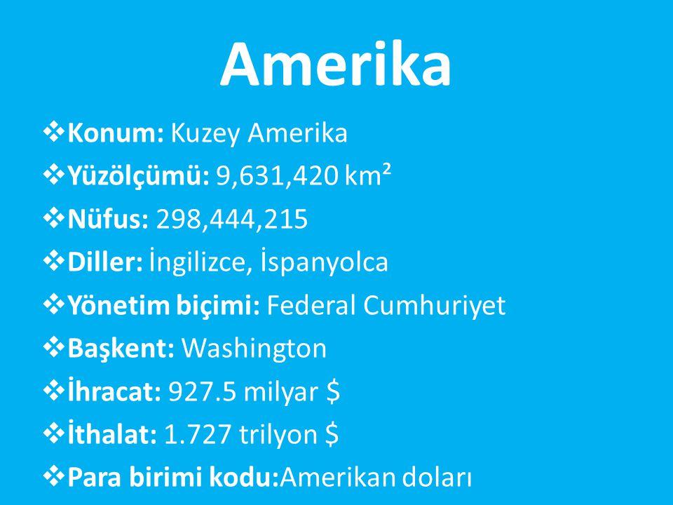 Amerika Konum: Kuzey Amerika Yüzölçümü: 9,631,420 km²