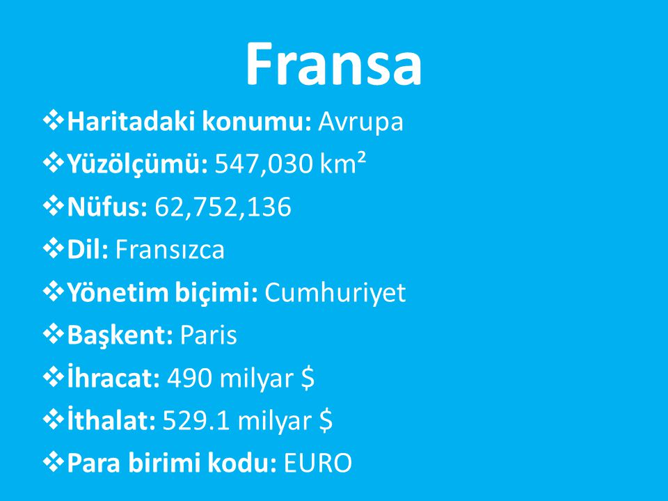 Fransa Haritadaki konumu: Avrupa Yüzölçümü: 547,030 km²