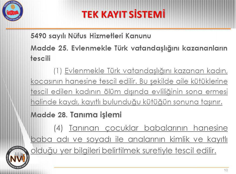 TEK KAYIT SİSTEMİ 5490 sayılı Nüfus Hizmetleri Kanunu. Madde 25. Evlenmekle Türk vatandaşlığını kazananların tescili.