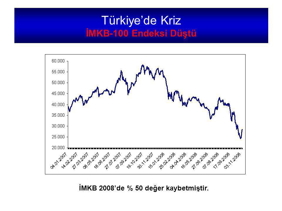 Türkiye'de Kriz İMKB-100 Endeksi Düştü