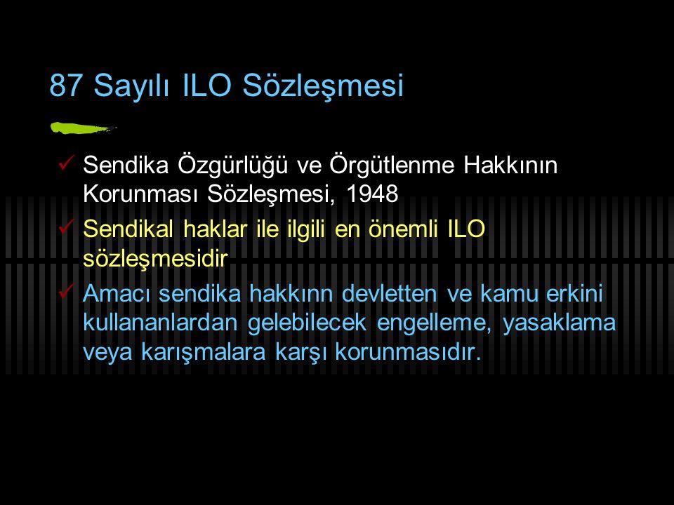 87 Sayılı ILO Sözleşmesi Sendika Özgürlüğü ve Örgütlenme Hakkının Korunması Sözleşmesi, 1948. Sendikal haklar ile ilgili en önemli ILO sözleşmesidir.