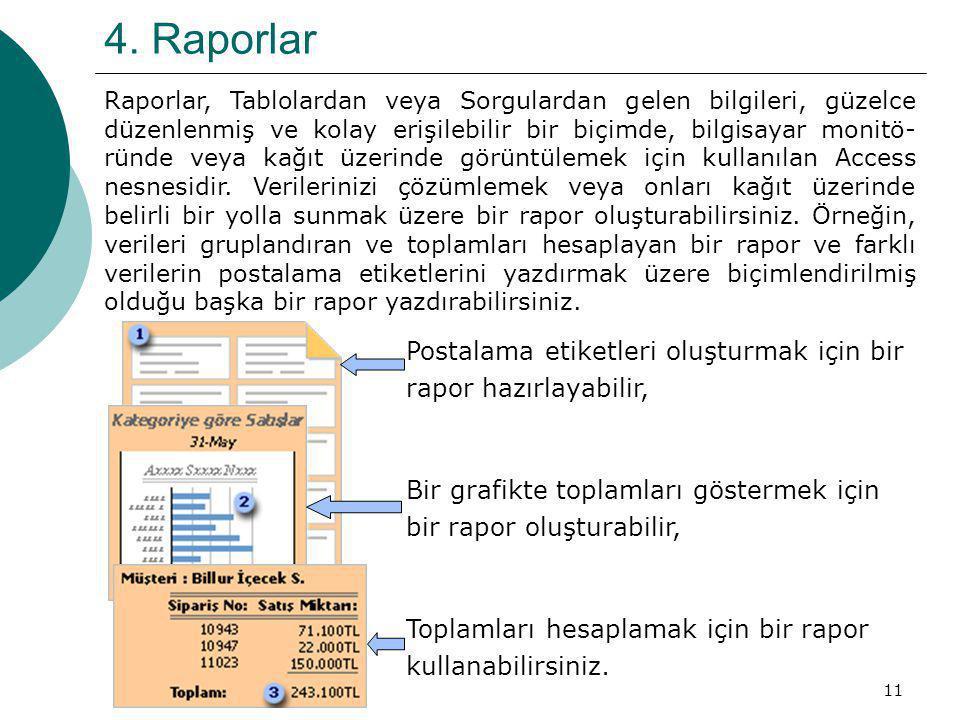 4. Raporlar Postalama etiketleri oluşturmak için bir
