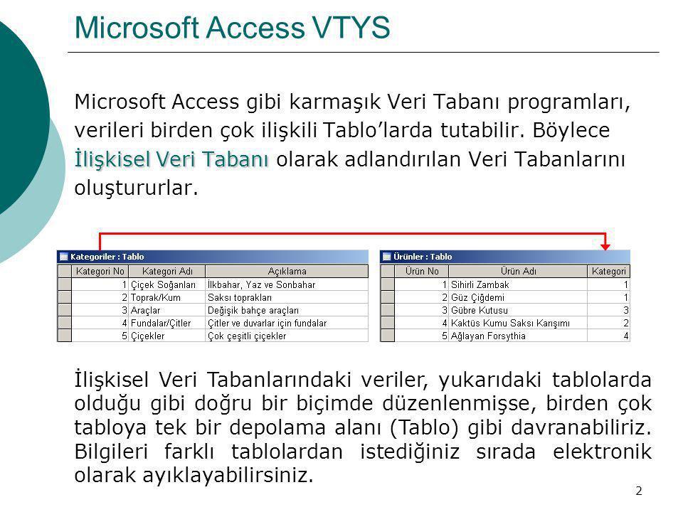 Microsoft Access VTYS Microsoft Access gibi karmaşık Veri Tabanı programları, verileri birden çok ilişkili Tablo'larda tutabilir. Böylece.