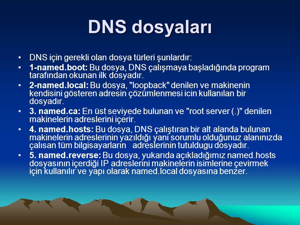 DNS dosyaları DNS için gerekli olan dosya türleri şunlardır: